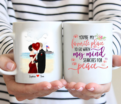 Veteran Couples - You're My Favorite Place To Go When My Mind Searches For Peace - Personalized Mug