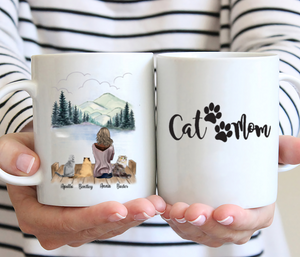 Girl And Cats -Cat Mom- Customised Mug