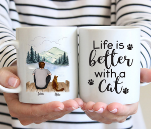 Man And Cats- Life Is Better With A Cat- Customized Mug