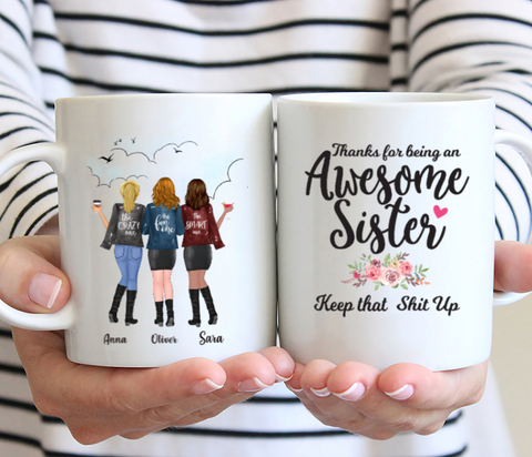Personalized 3 Sisters Coffee Mug - Thanks For Being An Awesome Sister