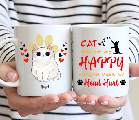 Personalized Cat Mug - Cat Makes Me Happy