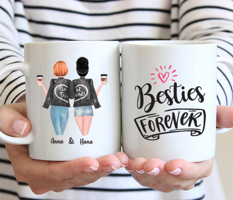 Personalized Two Girl Mug- Besties Forever