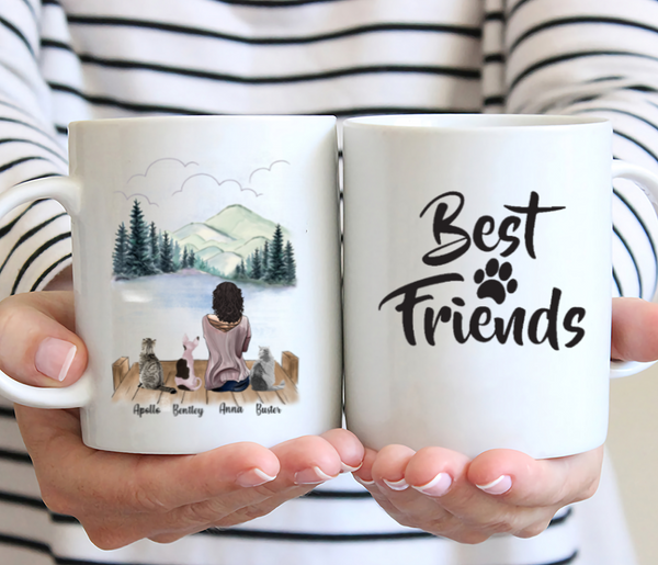 Girl And Cats - Best Friends - Customised Mug