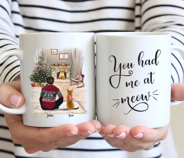 Man and Cats- You Had Me At Meow - Customised Christmas Cat Mug