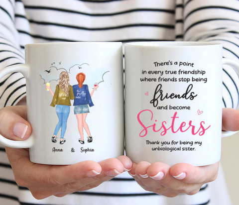 Personalized 2 Sisters Mug - Thank You For Being My Unbiological Sister