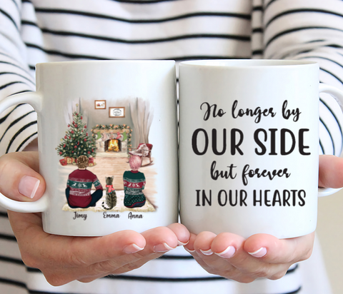 Couple And Cat Xmas - No Longer By Our Side But Forever In Our Hearts-Personalised Christmas Mug