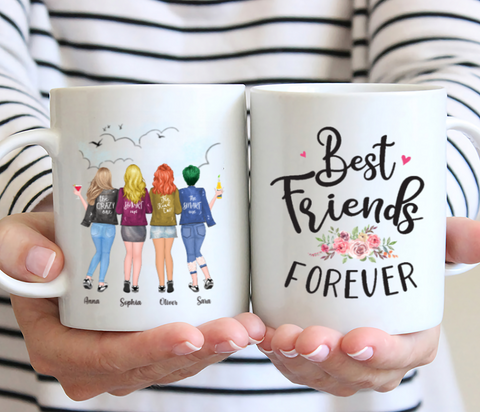 Personalized Four Girls Best Friends Mug- Best Friends Forever