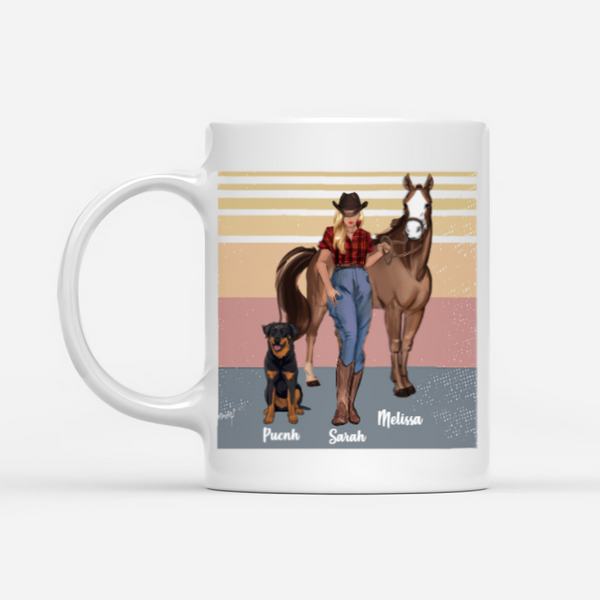 Personalized Horse & Dogs Mug - There's Nothing Quite So Special As The Bond Between A Girl Her Dog And her Horse