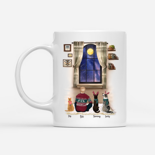 Man and cat and dog- Best Friend - Customised Christmas Mug