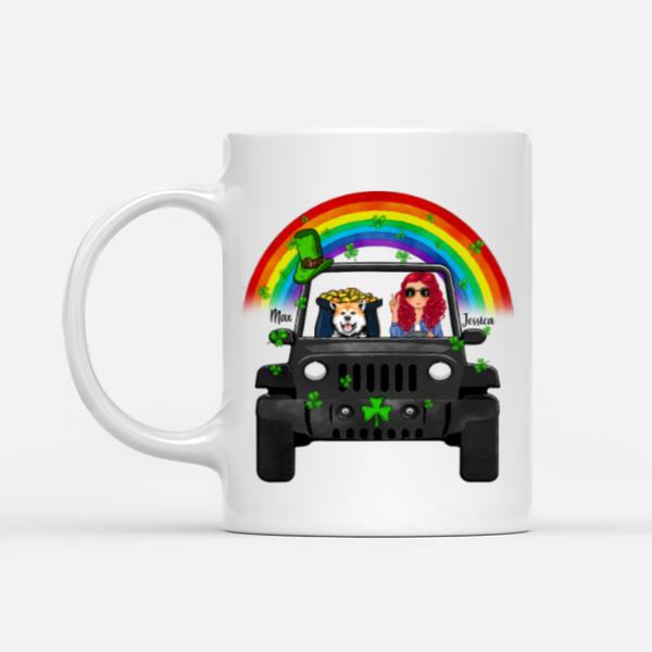 Personalised Dog & Patrick Day Mug - Not Lucky Simply Blessed Romans 4:7-8