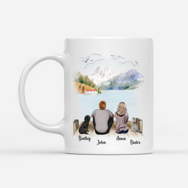 Couple And Cat And Dog- No Longer Our Side But Forever In Our Hearts- Customized Mug