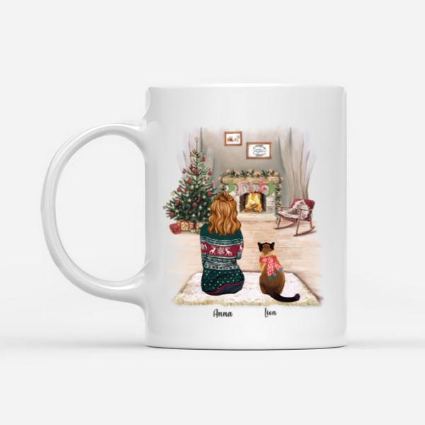 Girl And Cats - Life Is Better With A Cat - Customised Christmas Cat Mug