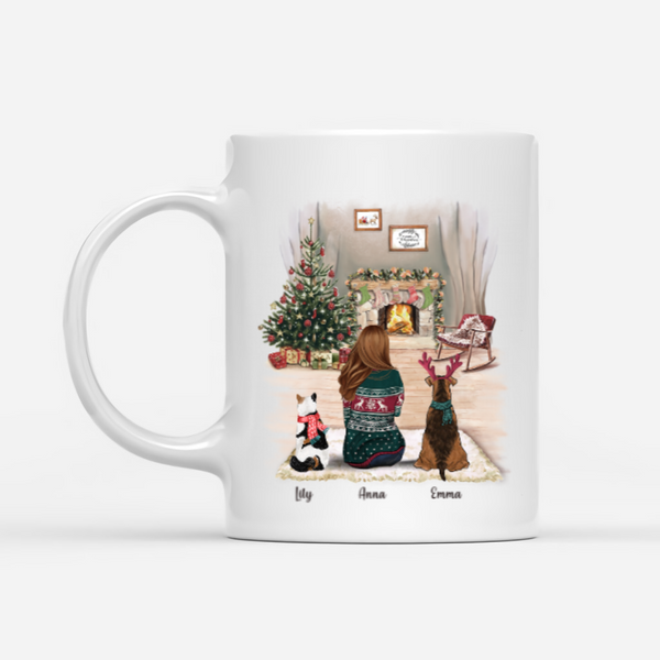 Girl And Dogs And Cats - Fur Mama - Customised Christmas Mug