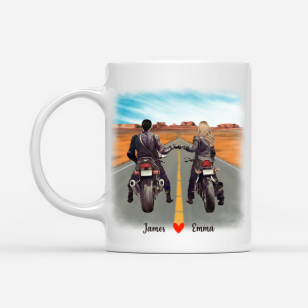 Motocycle Couple Personalized Mug - Love Is Hitting The Road Together