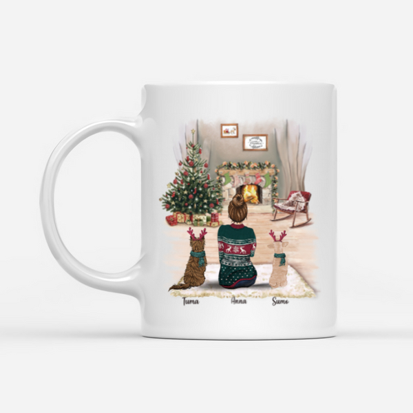 Girl and Dogs- Just A Girl Who Loves Dogs- Customised Christmas Dog Mug