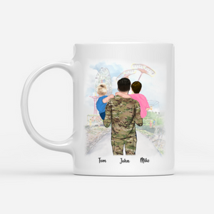 Personalised Veteran Dad Mug - There is no place higher than on daddy's shoulder.