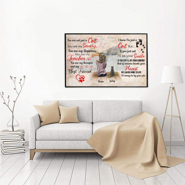 Personalized Girl And Cat Poster