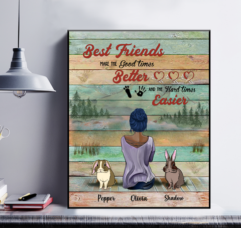 Personalized Girl & Rabbits Poster - Best Friends Make The Good Times Better