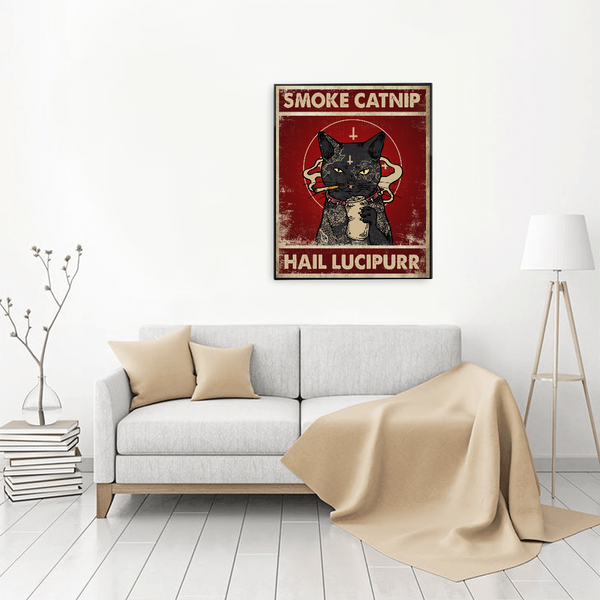 Personalized Cat Poster - Smoke Catnip Hail Lucipurr