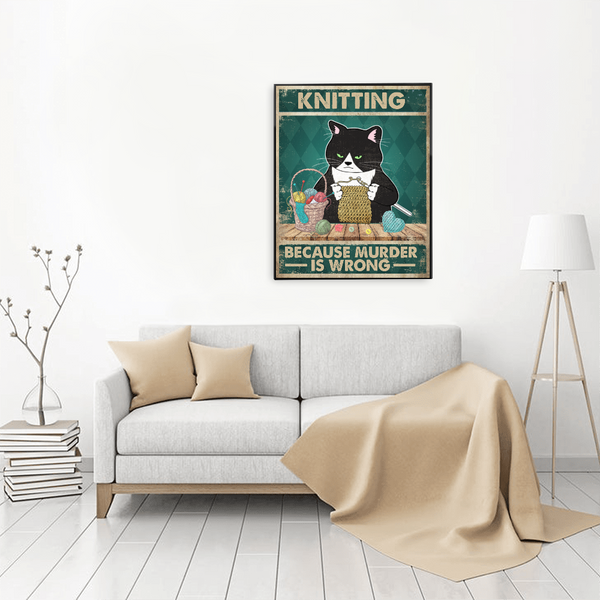 Personalized Knitting Cat Poster -  Knitting Because Murder Is Wrong