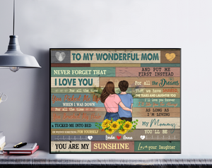 Personalized Mother & Daughter Poster - To My Wonderful Mom Never Forget That I Love You ..... Love, Your Daughter