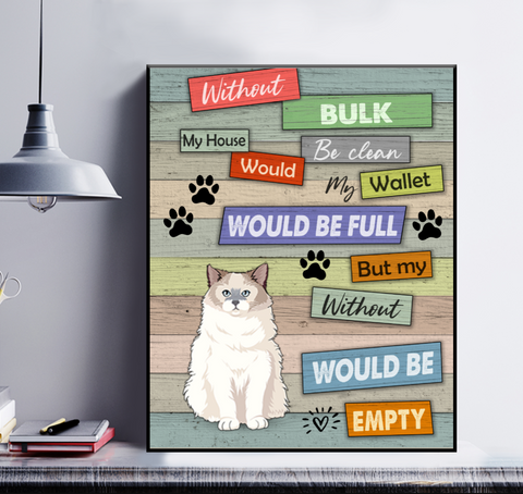 Personalized Cat Poster - Without My Pet My House Would
