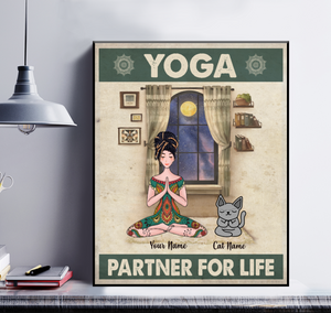 Personalized Poster Girl And Cat - Yoga Partner For Life