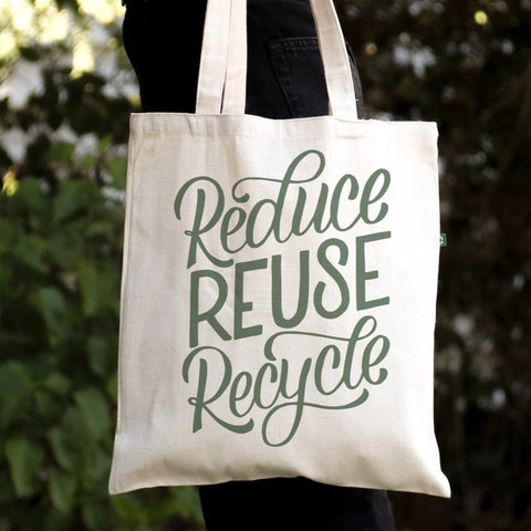 Reduce Reuse Recycle - Canvas Tote Bag - Recycled Cotton