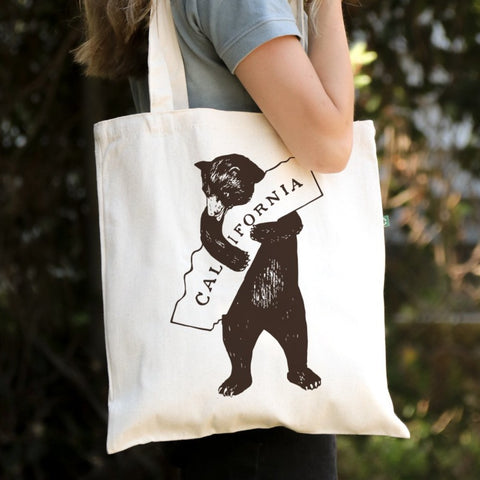 I love California - Canvas Tote Bag - Recycled Cotton - Brown Bear