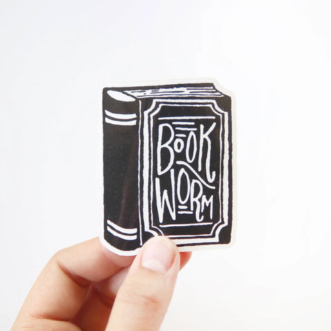 Book Worm Vinyl Sticker