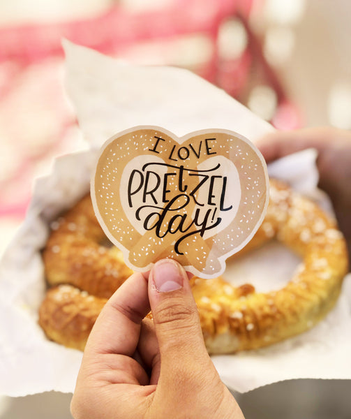 I Love Pretzel Day Sticker