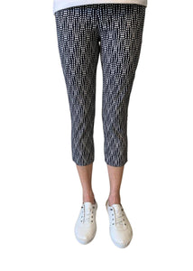 Robell Rose Wavy Dots Crop Trousers - Navy