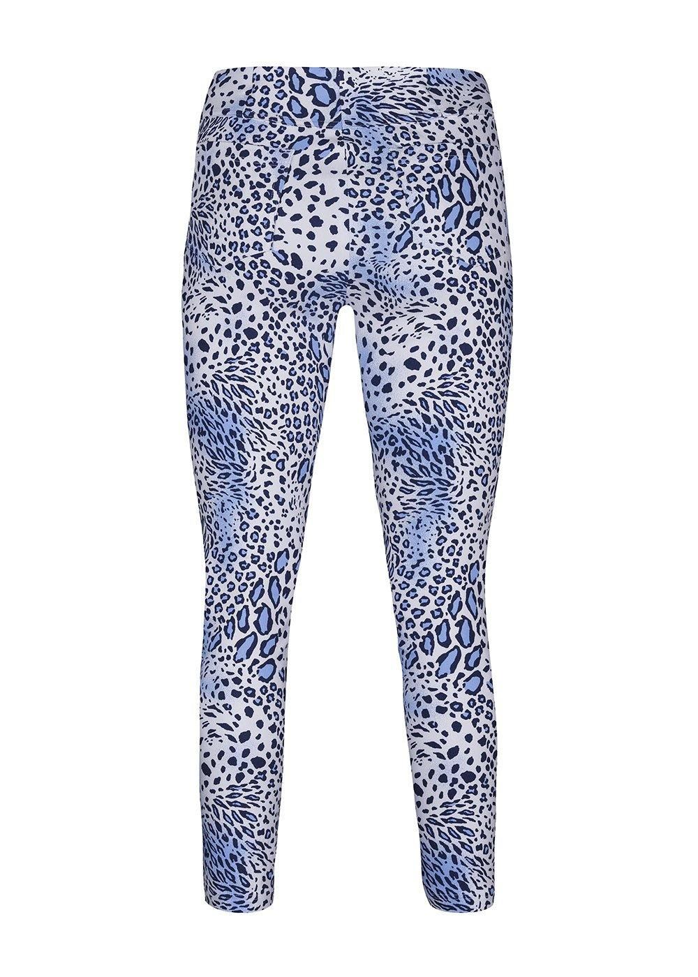 Robell Bella Blue Animal Print Trousers