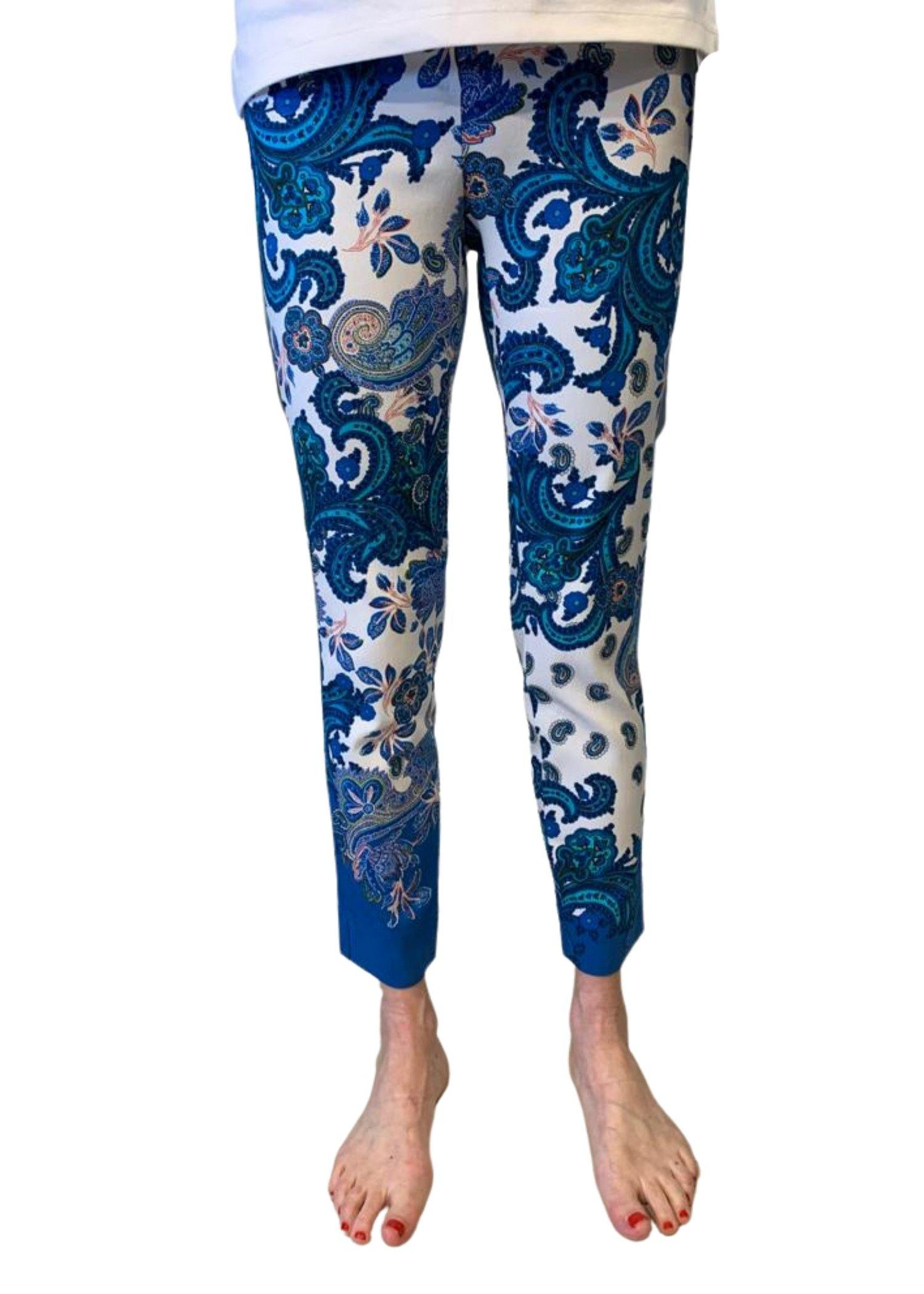 Robell Rose Paisley Print Trousers - Blue