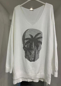 Diamanté Skull Palm Tree Knit Top