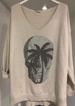 Load image into Gallery viewer, Diamanté Skull Palm Tree Knit Top