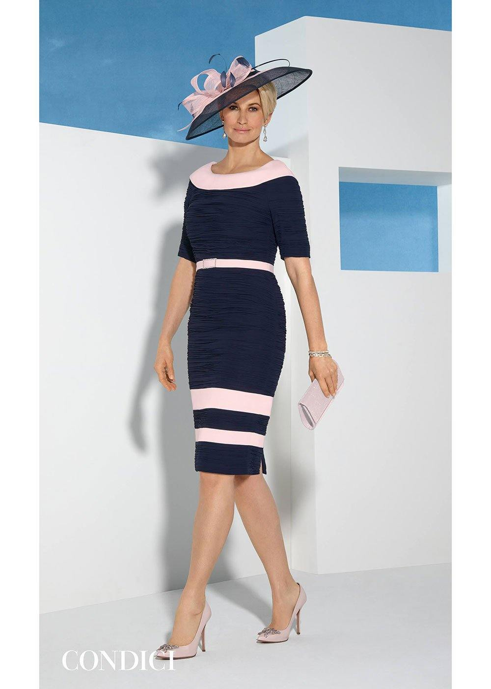 Condici Navy Ruched Occasion Dress
