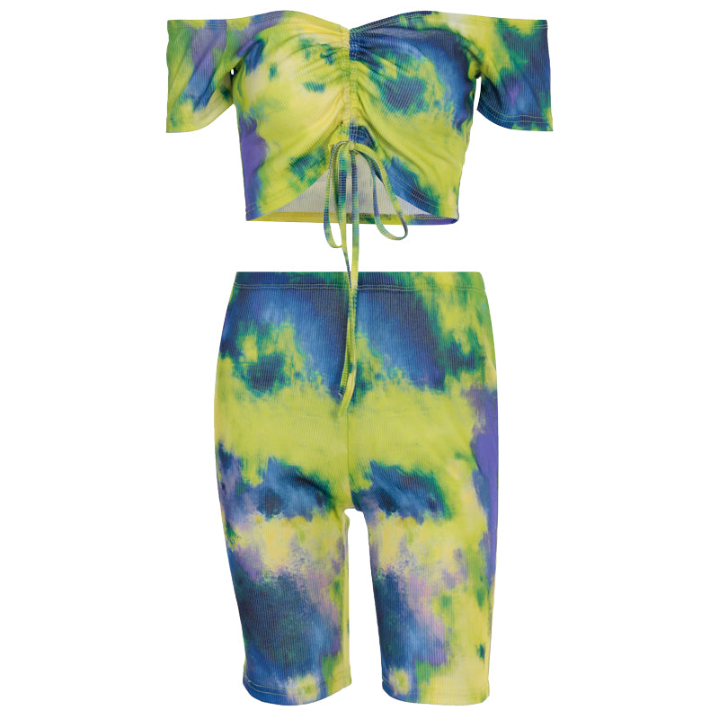 M.L.A. Summer Women Tie Printed Top+Shorts Sets Two Piece Set