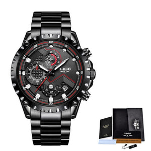 LIGE Mens Luxury Chronograph Male Stainless Steel Watch