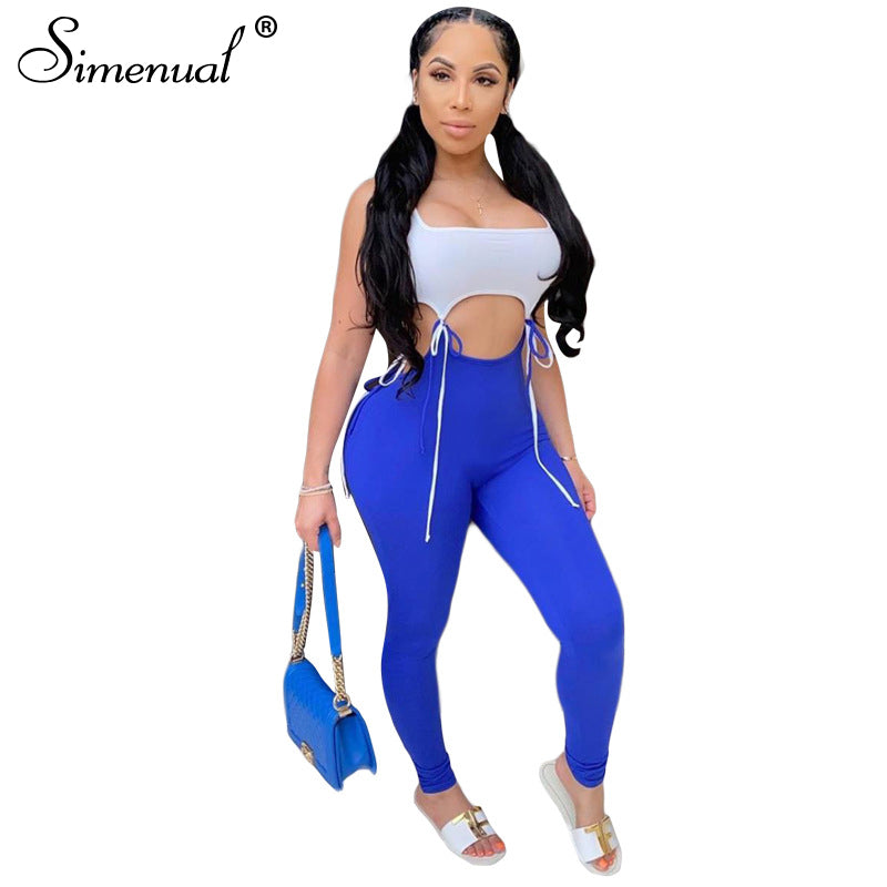 Bandage Patchwork Matching Sets  Sleeveless 2 Piece Outfits Push Up Hot Top And Pants Set