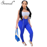 Load image into Gallery viewer, Bandage Patchwork Matching Sets  Sleeveless 2 Piece Outfits Push Up Hot Top And Pants Set