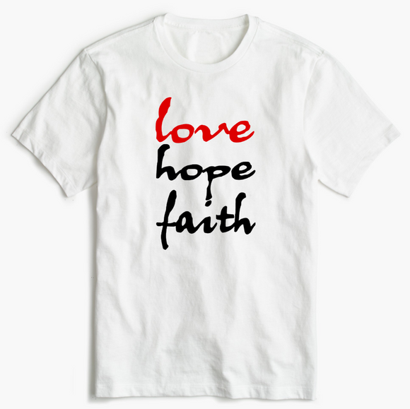 Christian T-Shirt - Love Hope and Faith