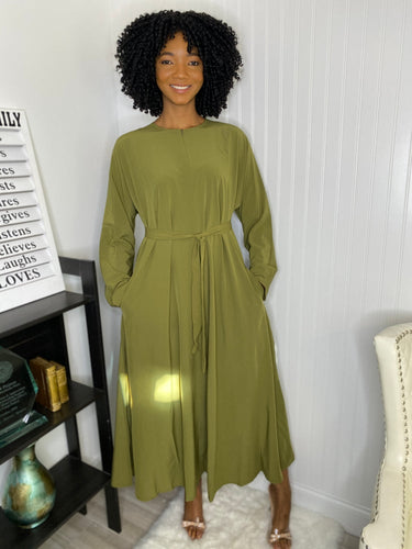 Olive modest dress - Modestapparels