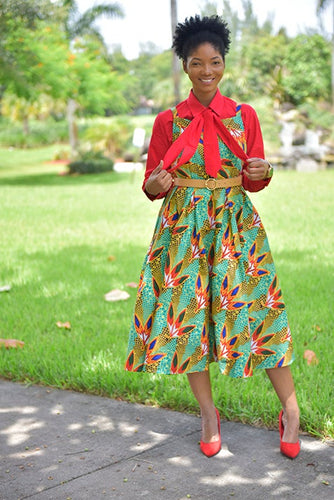 African Bowtie Dress ( 4Piece- Dress, Shirt , Bowtie and Belt included) - Modestapparels
