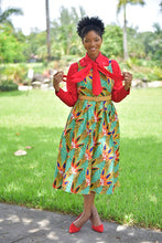 Load image into Gallery viewer, African Bowtie Dress ( 4Piece- Dress, Shirt , Bowtie and Belt included) - Modestapparels