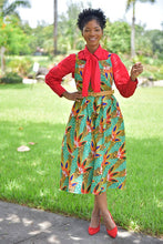 Load image into Gallery viewer, African Bowtie Dress ( 4Piece- Dress, Shirt , Bowtie and Belt included)