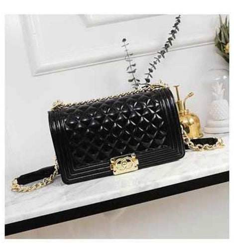 BLack gold chain purse