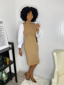 Nude shirt sleeve dress