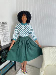 Green polka dot two piece set - Modestapparels