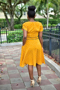 Heart Mustard dress - Modestapparels